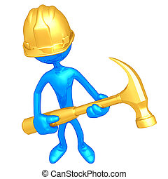 Construction Worker With Hammer - A Concept And Presentation...