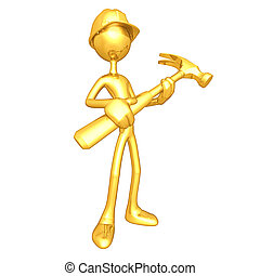 Gold Guy Construction Worker With H - A Concept And...