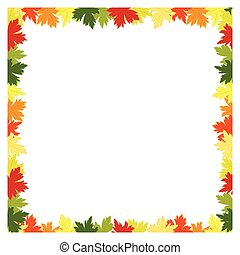 Fall leaves background frame - Colorful fall leaves...