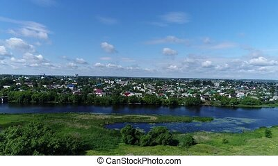 Top view of river Matyra and Gruazy town in Russia - Top...