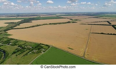 Flight over agricultural fields in Russia - Flight over an...