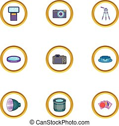 Photo shooting icons set, cartoon style - Photo shooting...
