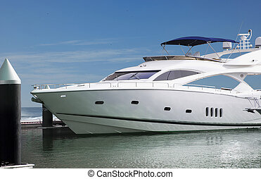A Luxury Yatch parked in its berth in one of the famous...