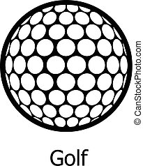 Golf ball icon, simple black style - Golf ball icon. Simple...
