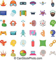 Connection icons set, cartoon style - Connection icons set....