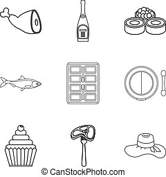 Table setting icons set, outline style - Table setting icons...