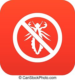 No louse sign icon digital red for any design isolated on...