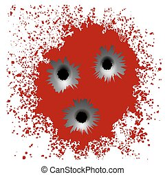 Bullet Holes on Red Blood Splatter Background - Set of...
