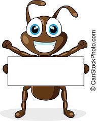 かわいい, ブラウン, 蟻, ブランク, 印