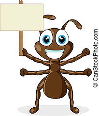 cute brown ant with wood sign