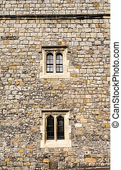 Two Windows on Old Stone Wall - Details of Windsor Castle,...