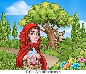 Little Red Riding Hood and Wolf Scene - Fairytale childrens...