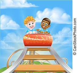Roller Coaster Kids - Cartoon boys riding on a roller...