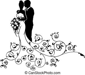 Bride and Groom Wedding Concept Silhouette - Bride and groom...