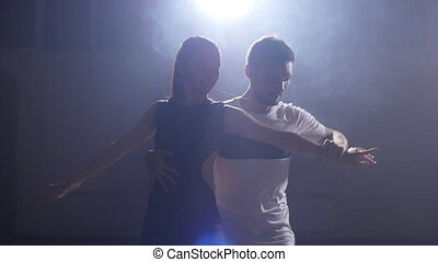 Beautiful couple dancing bachata