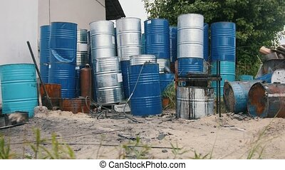 A lot of barrels with petroleum products - ecology concept -...