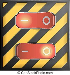 Realistic Toggle Switch Vector. Danger Background. Red Switches With On, Off Position. Control Illustration.