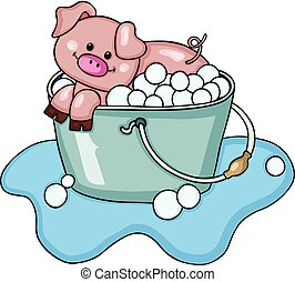 Happy pig taking a bubble bath - Scalable vectorial image...