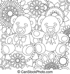 Two cute teddy bears. linear black and white art with floral pattern.