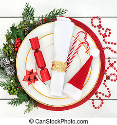 Christmas Dinner Time - Christmas dinner table setting with...