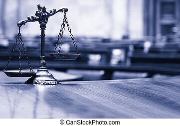Decorative Scales of Justice in the Courtroom.