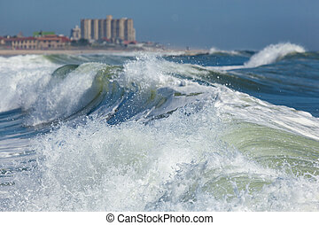 Deal New Jersey Waves - Waves crash near the shore in Deal,...