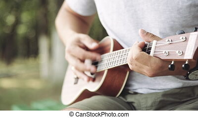 Person playing on little ukulele - Crop shot of man holding...