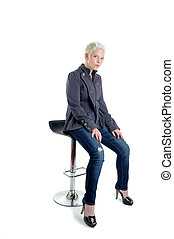 Stool - Short Blond Haired Woman Sat On A Bar Stool
