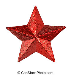 Red tin metal star hanging isolated on white background