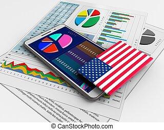 3d business data - 3d illustration of white phone over white...