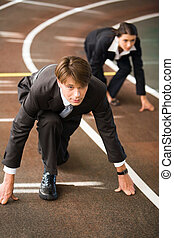 Contest - Confident business people are starting a race