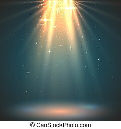 Abstract magic light background. Golden holiday burst....