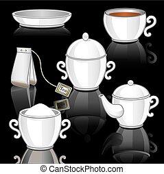 Tea set on black backgraund