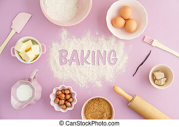 Basic baking ingredients - Flatlay collection of tools and...