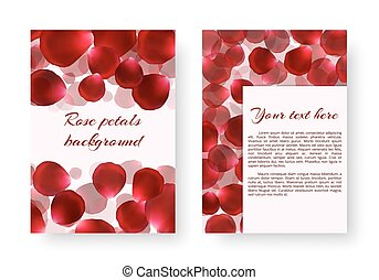 Design with rose petals - Background for drawing greeting...