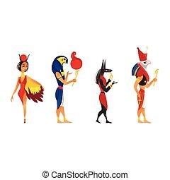 Ancient Egypt gods - Anubis, Ru, Horus and Hathor