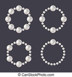 Pearl Beads Set. Glamour Borders on Dark Background. Vector