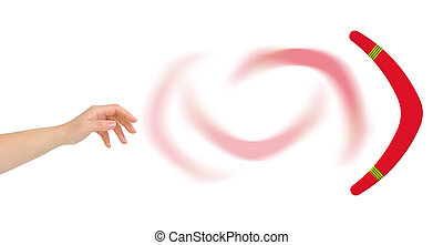 Hand and boomerang isolated on white background