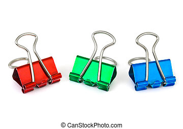 Multicolored paper clips isolated on white background