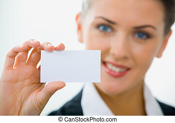 Visiting card - Image of  woman holding her visiting card