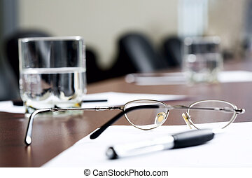 Break at business meeting - Left glasses of water, glasses,...