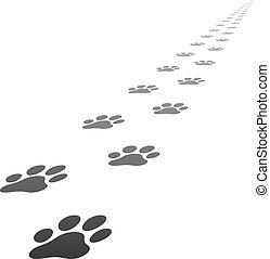 Vector dog paw prints - Perspective Footpath of vector dog...