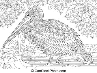 Zentangle stylized pelican - Coloring page of pelican bird...