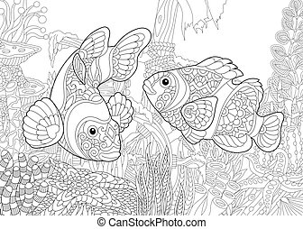 Zentangle stylized underwater world - Coloring page of clown...