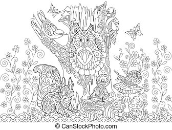 Zentangle stylized forest animals - Coloring page of forest...