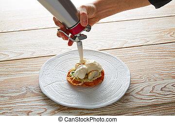 Fish mayonnaise and parsley crunchy tortilla - Fish with...