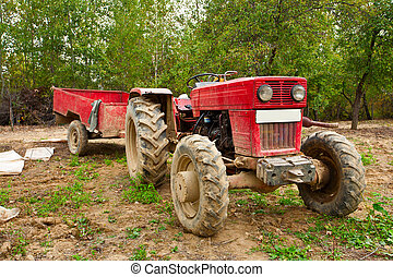Old tractor with trailer