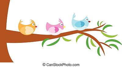 vector tree with bird, kids and colourful theme ,vector