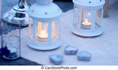candles, lanterns, for a romantic dinner for two. Dinner for a romantic date