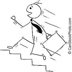 Cartoon Illustration of Smiling Business Man Running...